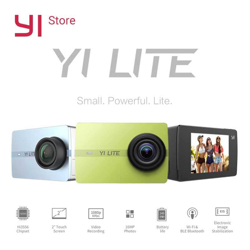 YI Lite Action Camera 16MP Real 4K Sports Camera with Built-in WIFI 2 Inch LCD Screen 150 Degree Wide Angle Lens new original thieye t5e wifi 4k action sports camera ambarella a12ls75 2 0 tft lcd screen 170 degree wide angle sports camera