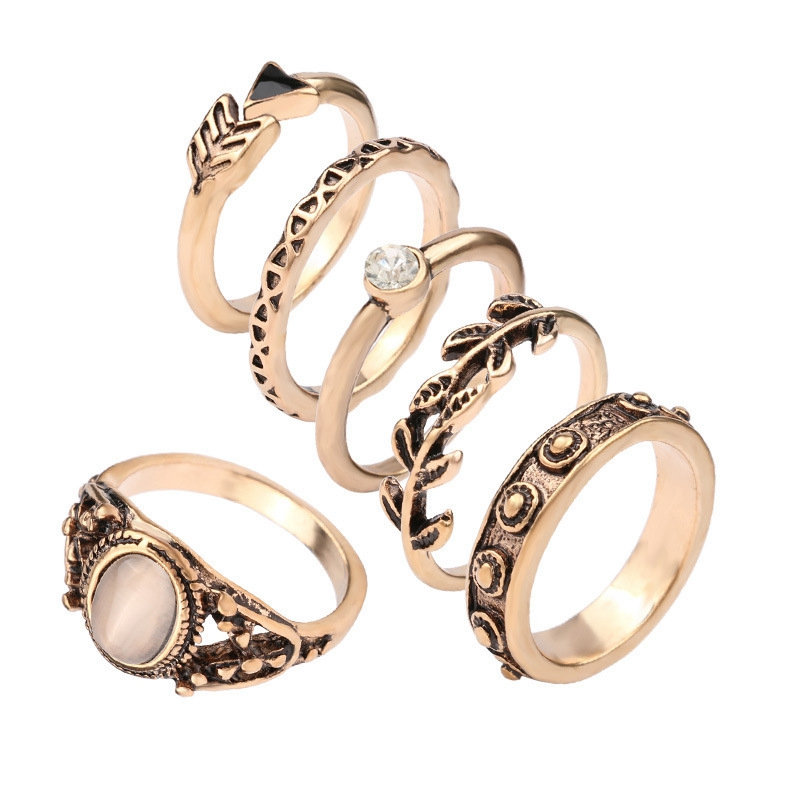 SHUANGR Popular Trendy Luxury 6 pcs Antique Gold-color Ring For Women Girls Cool Accessories New Arrivl Jewelry