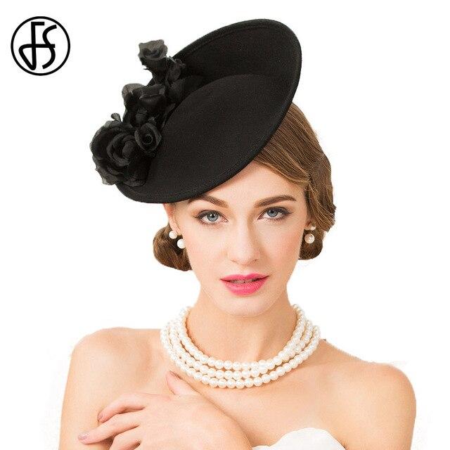 a0436d627cb FS Fascinator Black 100% Wool Hats For Women Elegant Wedding Cocktail  Pillbox Hat LadieFormal Floral Tea Party Church Fedora