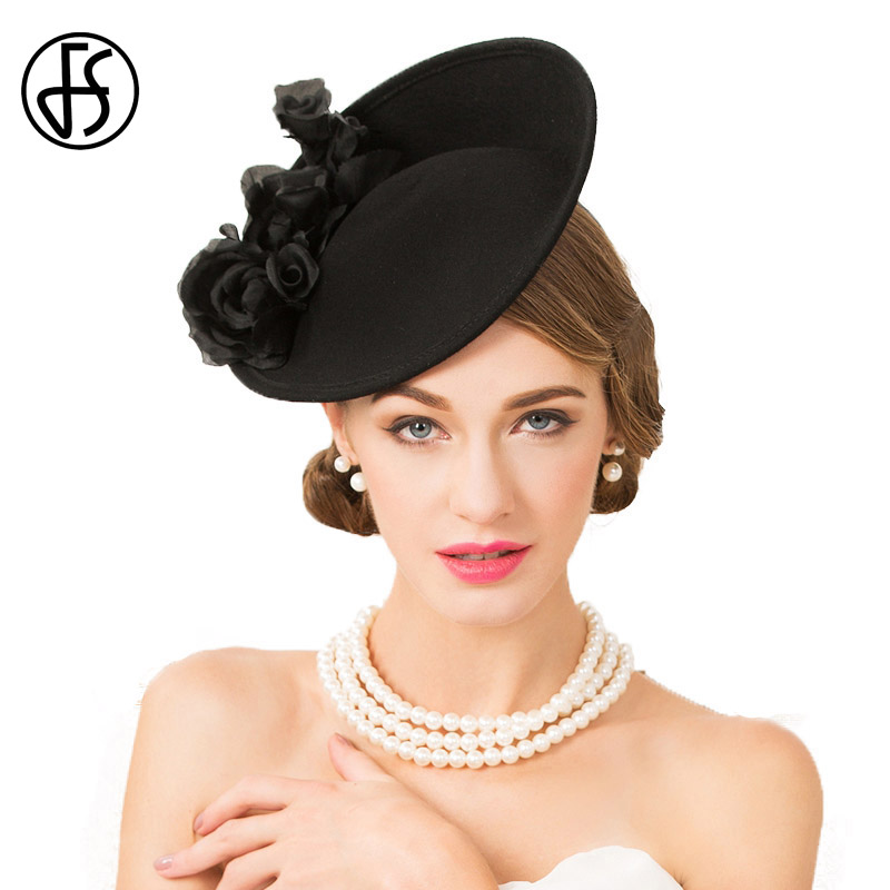 FS Fascinator Black 100% Wool Hats For Women Elegant Wedding Pillbox Hat Lady Formal Floral England Style Church Fedora Chapeau