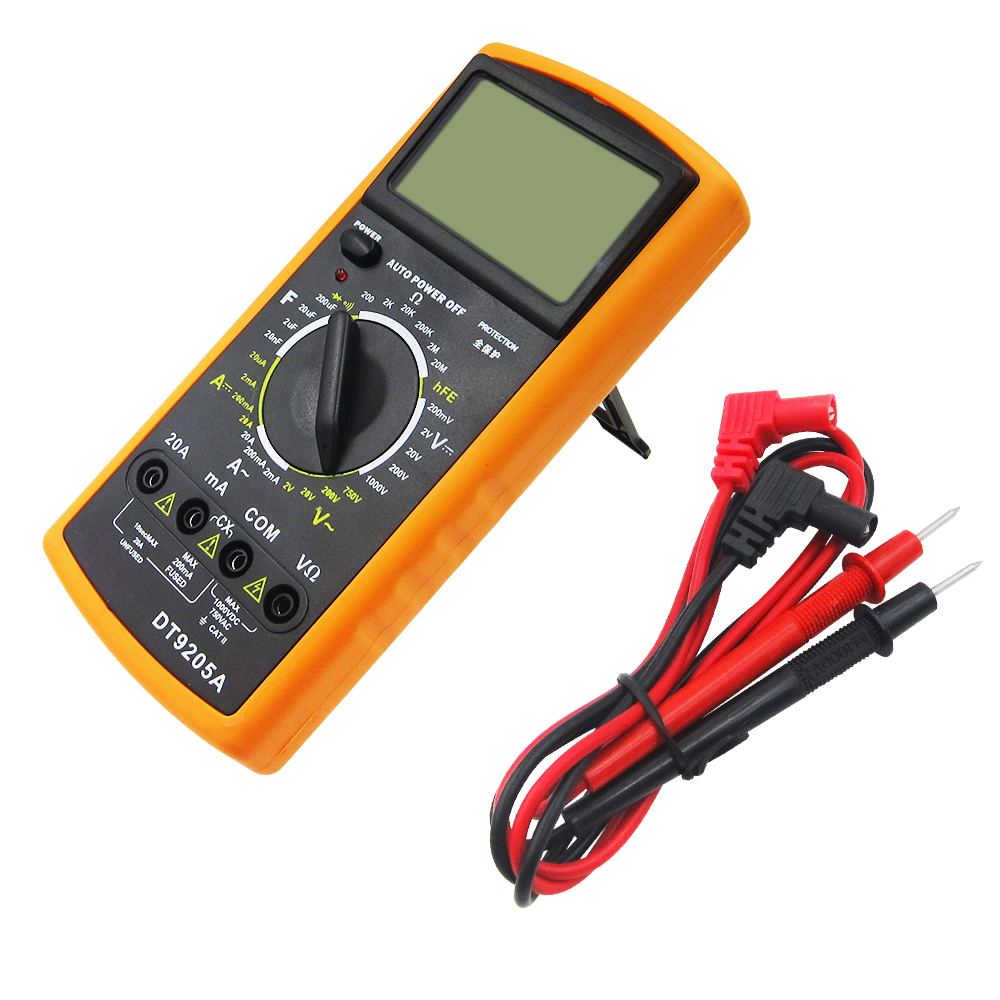 DT9205A Digital Multimeter/Volt/Amp/Diode/Ohm/Frequency/Capacitance Tester/Transistor my68 handheld auto range digital multimeter dmm w capacitance frequency
