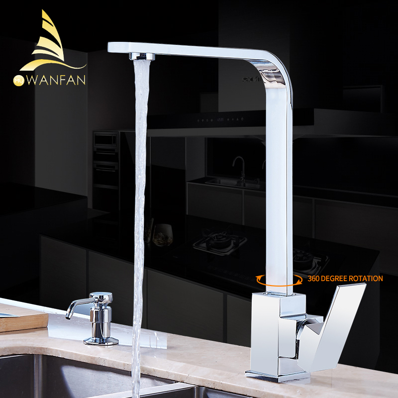 Kitchen Faucet Chrome Brass Deck Kitchen Sinks Faucet High Arch 360 Degree Rotating Swivel Cold Hot