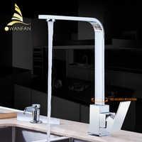 Robinet de cuisine Chrome laiton pont cuisine éviers robinet haute arche 360 degrés pivotant froid chaud mélangeur eau robinet GYD-7119