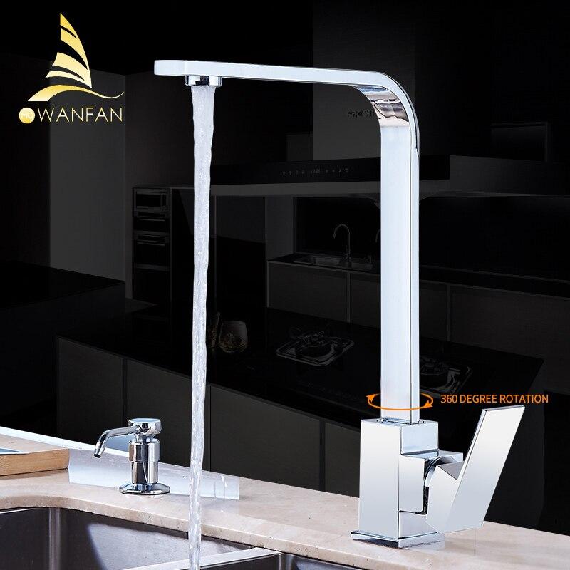 Смеситель для кухни хромированный латунный двухслойный кухонный раковины кран Высокая АРКА 360 градусов вращающийся Поворотный холодный го...