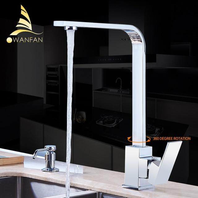 Смеситель для кухни, хромированный латунный Смеситель для раковины, смеситель для кухни с высокой аркой, поворотный на 360 градусов, смеситель для холодной и горячей воды, смеситель для воды с возможностью поворота на 360 градусов