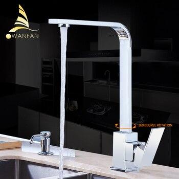 Grifo de cocina cubierta de latón cromado fregaderos de cocina grifo de alto arco giratorio de 360 grados grifo de agua mezclador frío GYD-7119