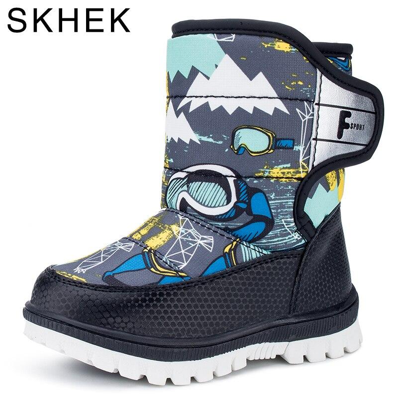 Besorgt Skhek 2018 Schnee Stiefel Kinder Winter Stiefel Jungen Wasserdichte Schuhe Mode Warme Baby Stiefel Für Jungen Kleinkind Schuhe Größe 22 -27