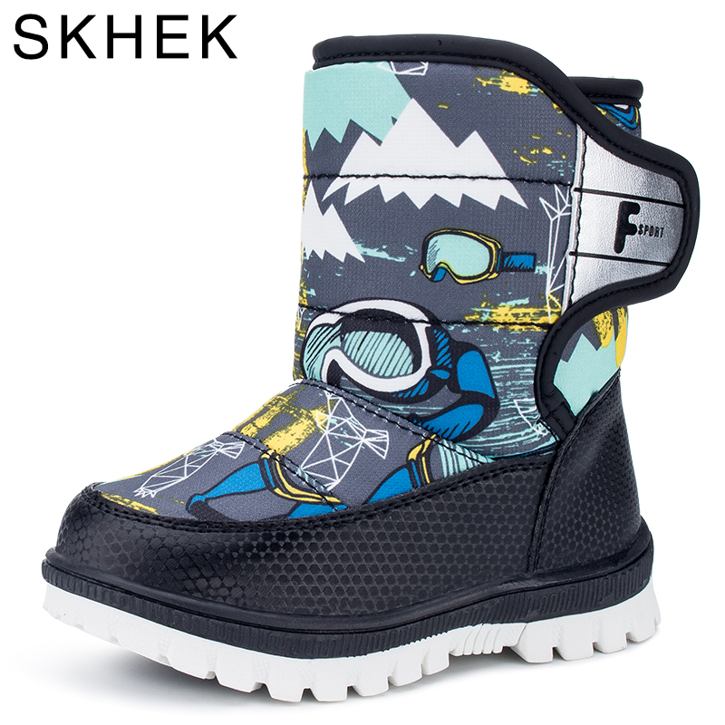 Skhek Snow Boots Kids Winter Boots Boys Waterproof Shoes Fashion Warm Baby Boots For Boys Toddler Footwear Size 22-27