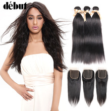 hot deal buy debut hair extension 100% human hair bundles with closure brazilian hair weave bundles straight 3/4 bundles with lace closure