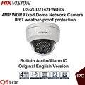 Câmera de vigilância hikvision versão original em inglês ds-2cd2142fwd-is 4mp câmera wdr ip fixo dome poe áudio/câmera de cctv alarme
