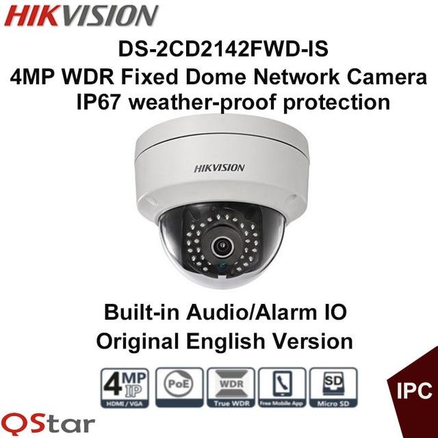 Hikvision Original English Version Surveillance Camera DS-2CD2142FWD-IS 4MP WDR Fixed Dome IP Camera POE Audio/Alarm CCTV Camera