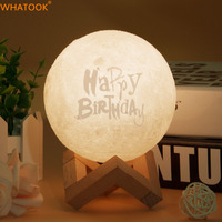 Customized 3D Light Print Moon Night Lamp Custom Nightlight Touch Sensor Tap Lamp for Bedroom Home Decor Creative Gifts