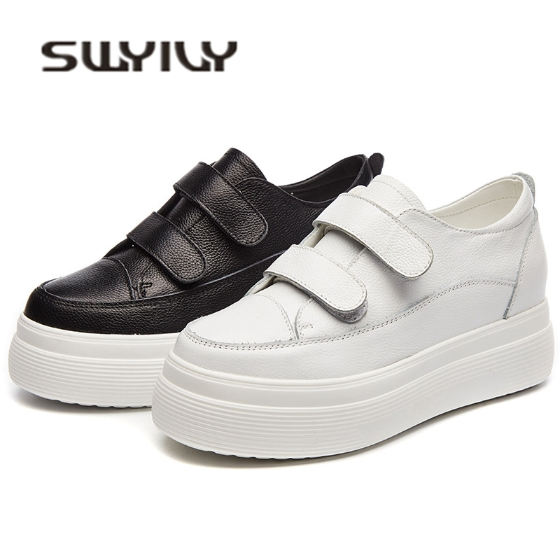 SWYIVY Natural Cow Hide Leather Woman Sneakers Platform White Shoes 2018 Female Casual Shoes Hided Wedge Hook Loop Sneakers popular white cattle hide zip womens sneakers