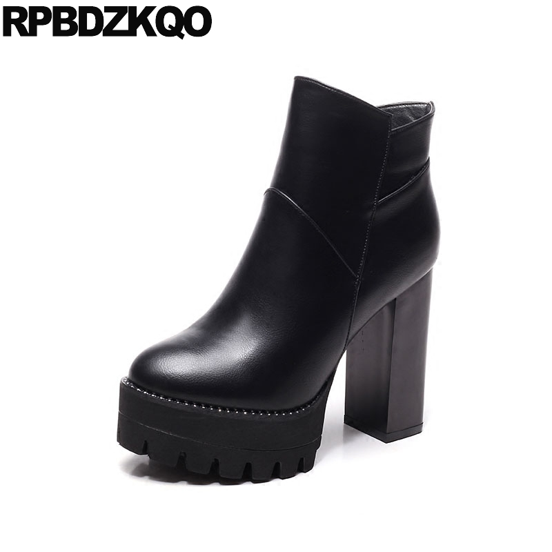 Ankle Round Toe Booties Shoes Fashion Ladies Extreme Fetish High Heel Chunky Waterproof Black Size 34 Platform Short Side Zip ankle shoes autumn booties 2017 strange front lace up casual boots chunky round toe fetish platform white ladies chinese fashion