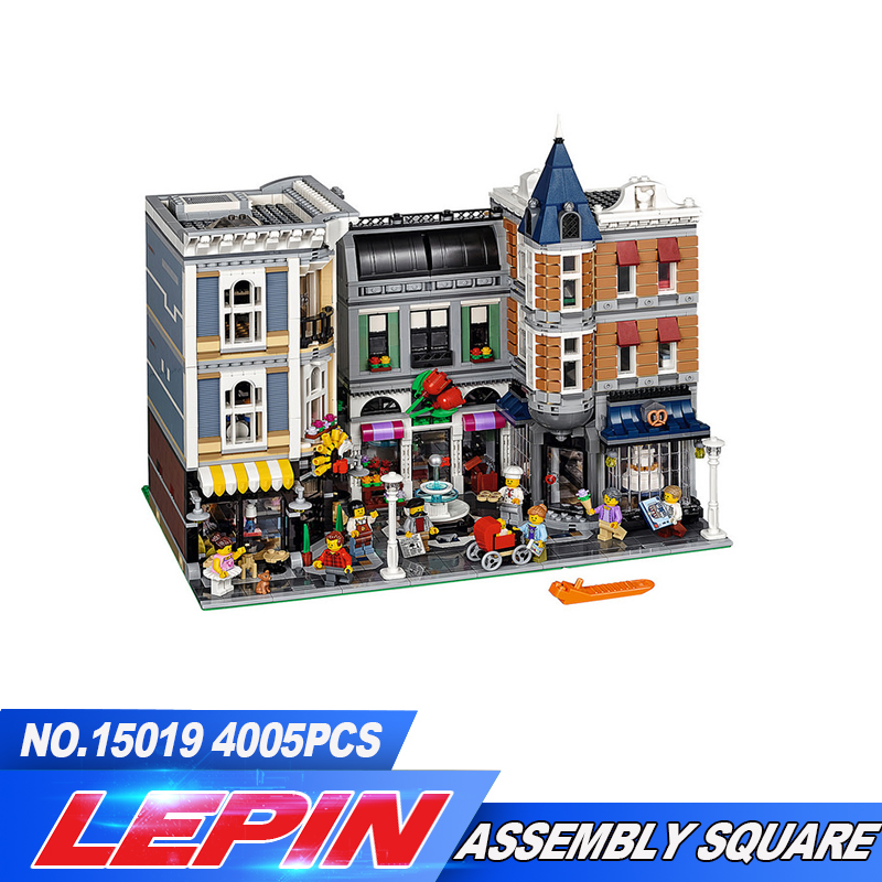 Lepin 15019 4002pcs 15019B Creative Creator Series The Assembly Square Set Building Blocks Bricks Compatible legoed block 10255 in stock with light 15019b 4122pcs lepin 15019 4002pcs assembly square city serie model building kits brick toy compatible 10255