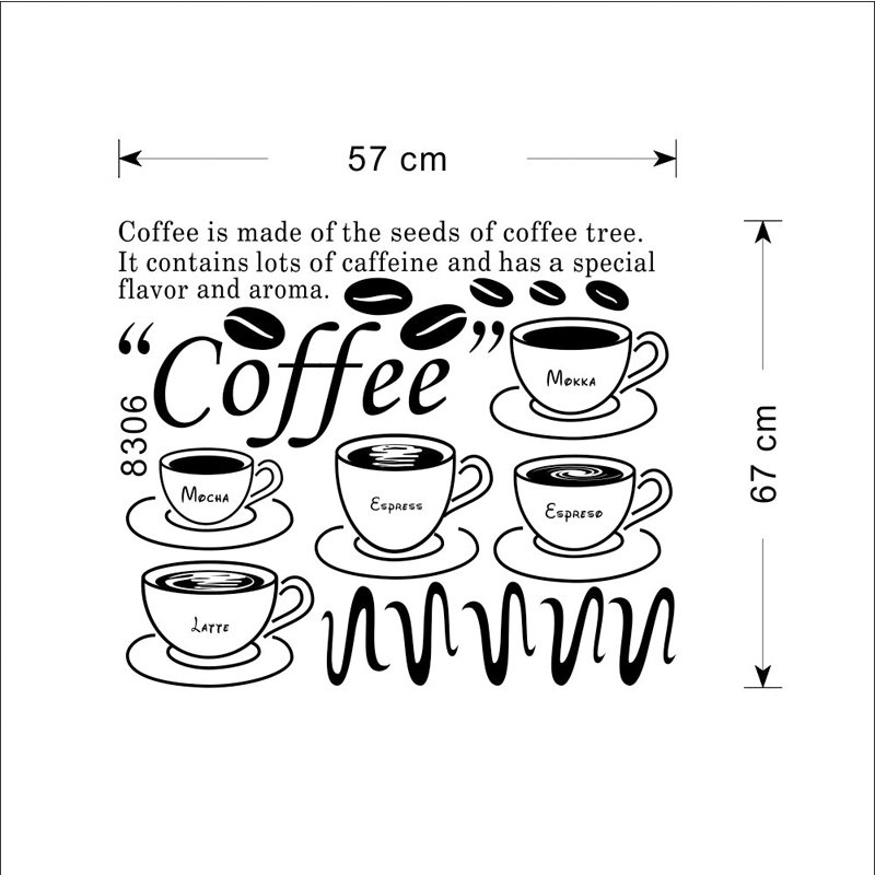 Black Decorative Wall Vinyls Kitchen Sticker Coffee Wall Art Adesivo ...
