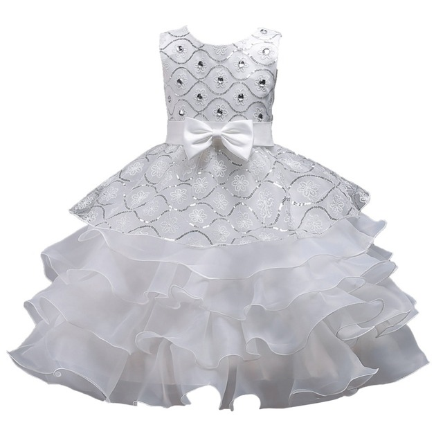 e2b083f9e8a2 Children Girls Diamond Lace Ruffles Sequins Dress Party Formal ...