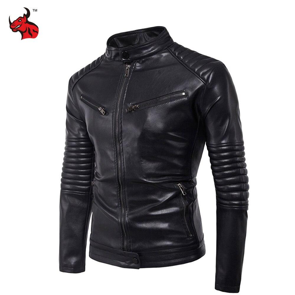 Новый урожай Ретро мужская тонкий мотоцикл куртки Мужской классический панк Байкер PU искусственной кожи Мото куртка пальто стоять воротник
