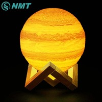 3D Print LED Moon Night Light LED Jupiter Lamp Color Changing USB Rechargeable Touch Switch LED