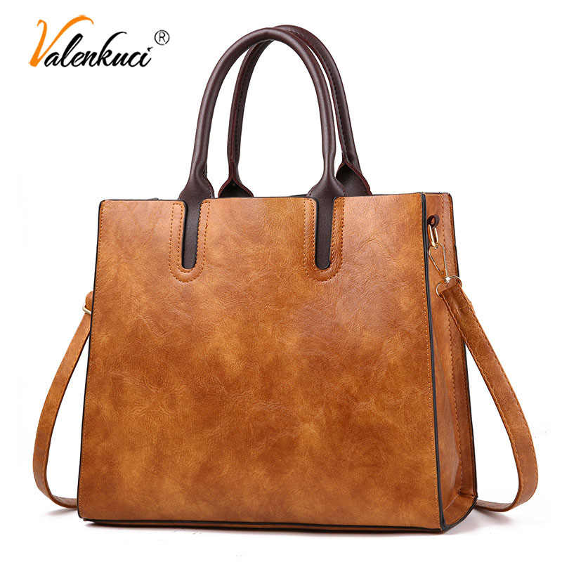 Famous Brand Designer Handbags Leather Bags Women Large Capacity Vintage Hand Top-Handle Bags Solid Tote Ladies Shoulder Bag