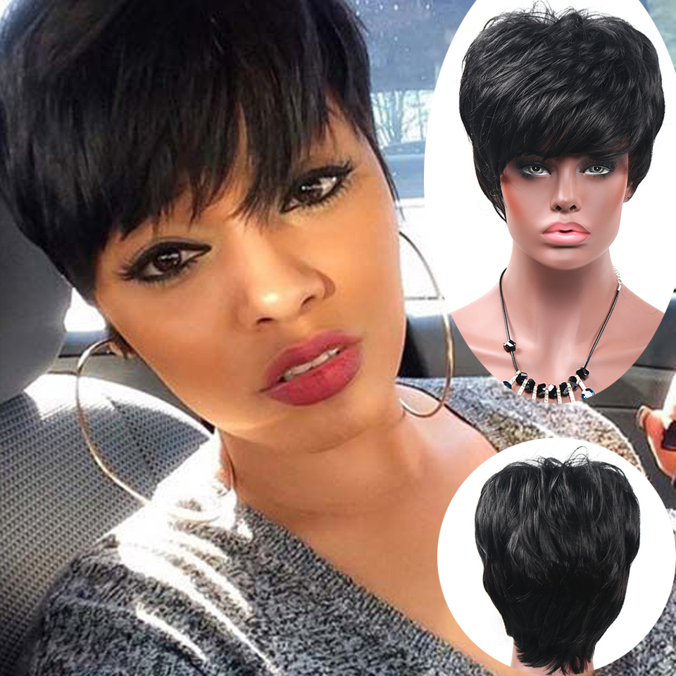 Short Pixie cut Wigs Short font b Synthetic b font Wigs For Black Women African American