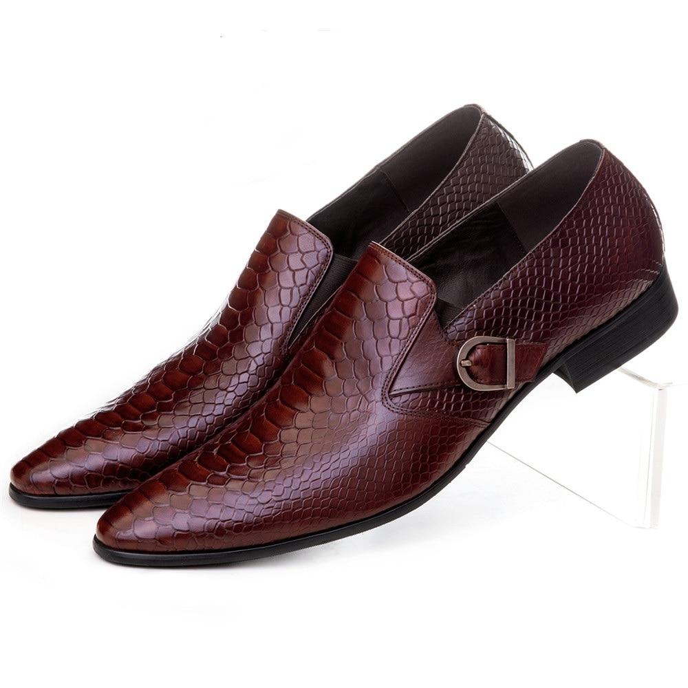 Suuri koko Eur45 ruskea tan / musta serpentiini munkkihihna loafers liiketoiminnan kengät aito nahka mekko kengät mies häät kengät