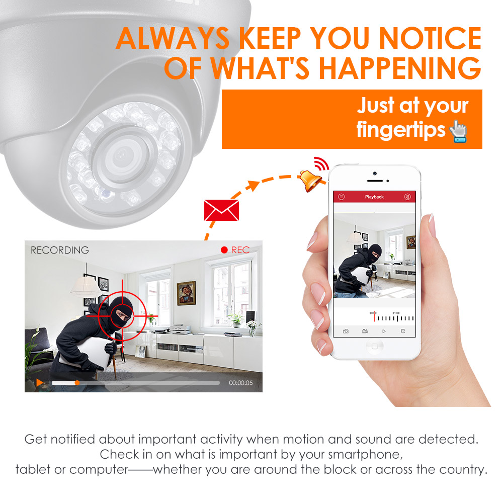 Image 5 - ZOSI 1080N HDMI DVR 1280TVL 720P HD Outdoor Home Security Camera System 8CH CCTV Video Surveillance DVR Kit 1TB Camera Set-in Surveillance System from Security & Protection