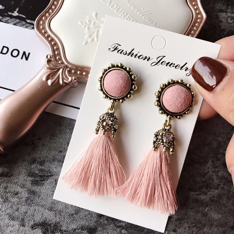 Tiny Tassel Earrings for Women Fashion Jewelry Vintage Velvet Ball Statement Fringed Drop Earring Female Jewellery 2019 New