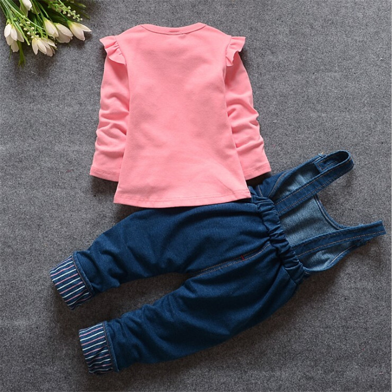 63ac23971b01b US $10.57 44% OFF|BibiCola spring autumn baby girl clothing sets bebe  tracksuit set carton cat toddle top shirt+bib pants infant girl clothes -in  ...