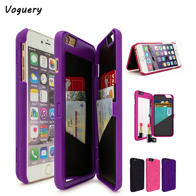 Voguery Hidden Back Mirror Wallet Case for iPhone 6 6s 7 8 Card Holder Kickstand Back Cover for