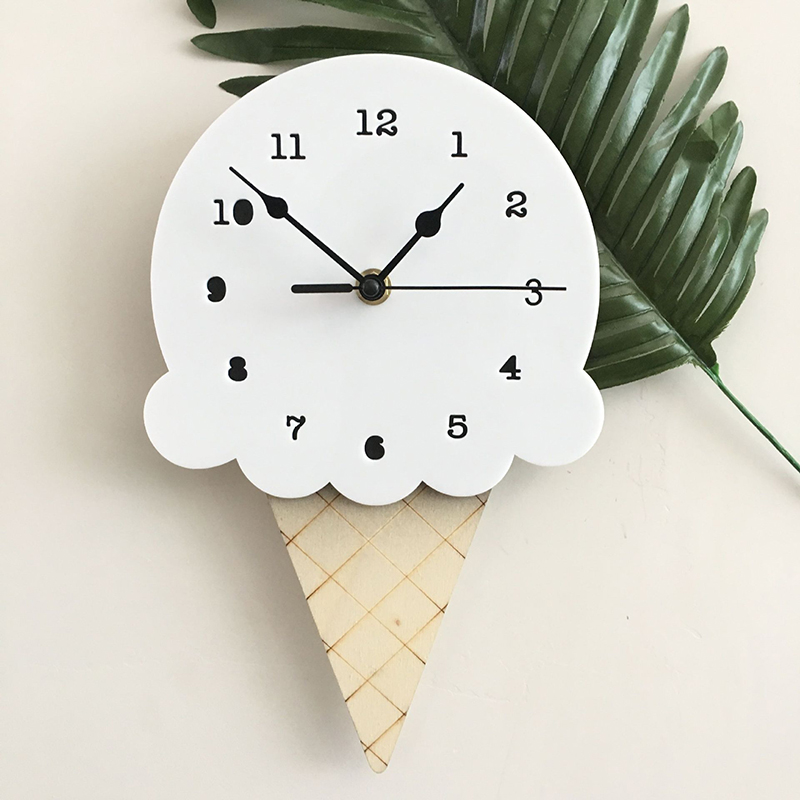 Nordic Style Nursery & Kids Decor Clock MUTE Ice Wall Hanging Wood Toys Model Cute Baby Kid Room Furnish Artic Home Decoration