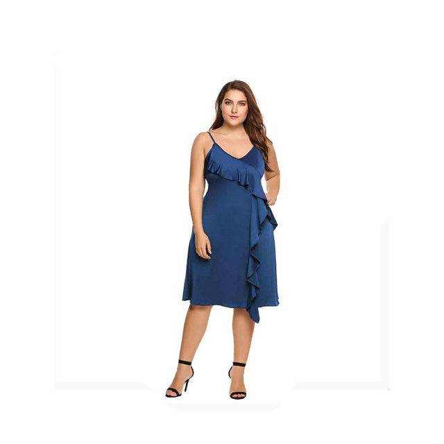 Women Dress Summer A-line Plus Size Spaghetti Strap Deep V-Neck Strappy Solid Ruffled Ladies Party Dresses Vestidos 4