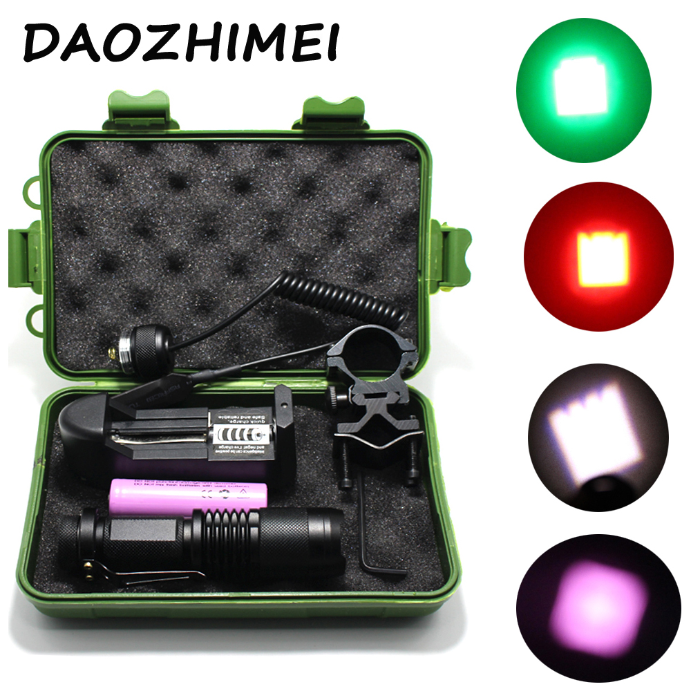 Powerful NEW Tactical Zoom led Flashlight IR 850nm /Red/ Green / White light Spotlight With Gun Clip Remote Pressure Switch