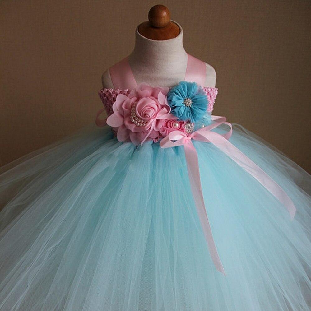Princess Aqua Blue Flower Girls Dresses Pink Blue Kids Tutu Dresses ...
