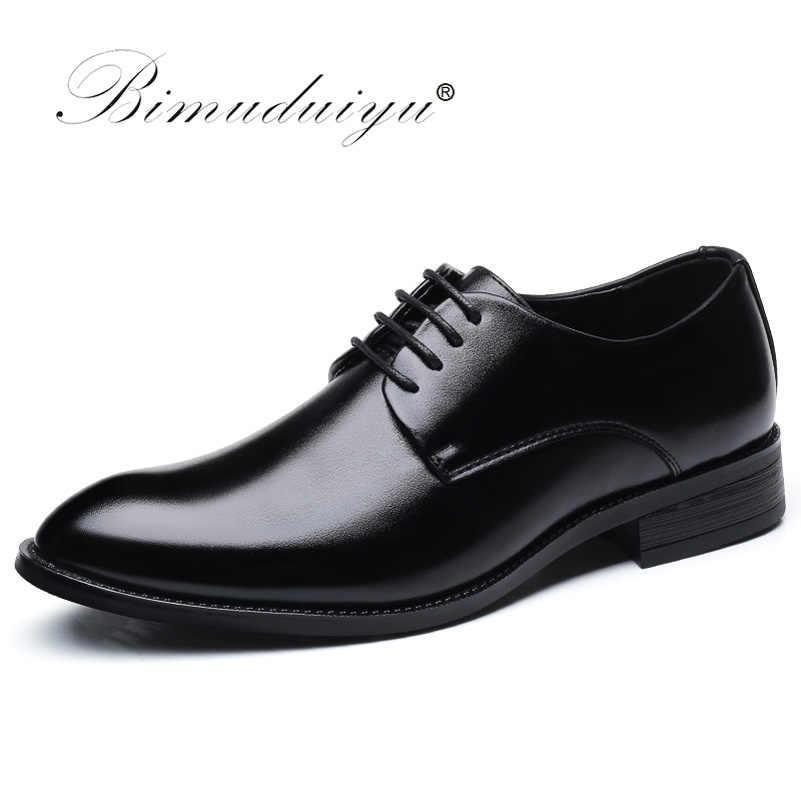 Bimuduiyu Thương Hiệu Cổ Điển Người Mũi Nhọn Đầm Giày Nam Bằng Sáng Chế Da Đen Cưới Giày Oxford Trọng Size Lớn