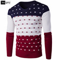 New Arrival Men Sweater Casual Slim Fit Long Sleeve O-neck Male Clothing Fashion Patchwork Design Warm Pullover Sweaters