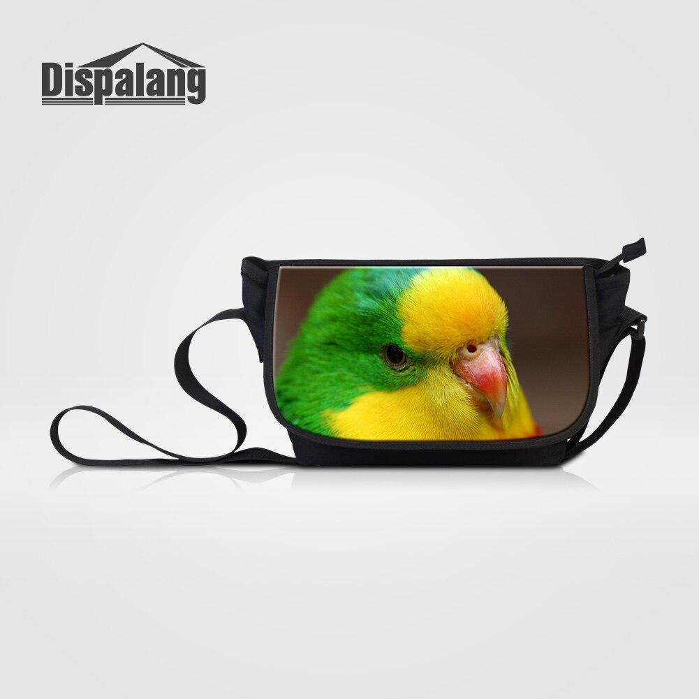 Dispalang Brand Designer Canvas Messenger Bags For Teenage Girls Boys Satchels For School Animal Bird Parrot Women Shoulder Bag