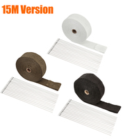 15M Auto Titanium Exhaust Header Tube Fiber Heat Wrap Tape With Steel Cable Ties For Car