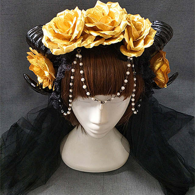 New Halloween Lolita Cosplay The Veil Demon Evil Gothic Sheep horn Flowers Headband Hairband Accessory Headwear Prop 2