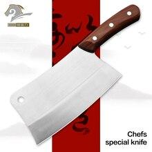 Cuchillo profesional de cocina para cortar cuchillos de Chef, herramienta de acero inoxidable con mango de madera, cortador de hueso, cuchillo de carnicero, cortador de verduras