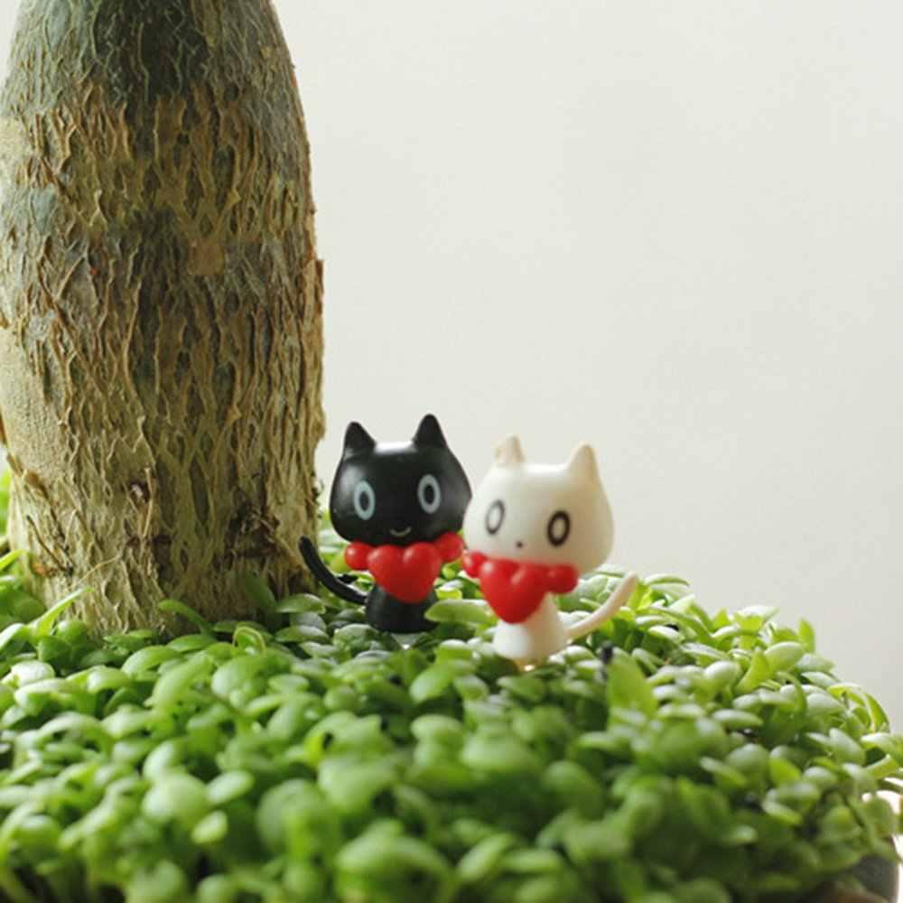 2 قطعة/المجموعة 3 سنتيمتر المشهد الحلي الصغيرة أبيض أسود زوجين القط لطيف نموذج مصغر التماثيل اللعب لطيف جميل أطفال