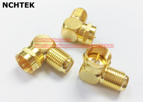 NCHTEK Right Angled F Type Male Plug to Female Jack RF Coaxial Connector Adapter/Free Shipping/10PCS