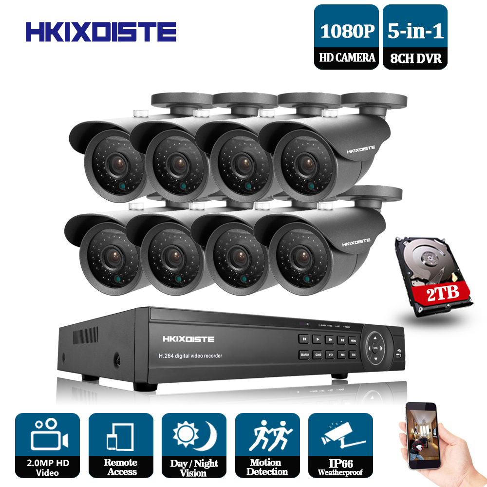 8CH 1080P HDMI DVR 1080P HD Indoor Outdoor Security Camera System 8 Channel CCTV DVR Kit 8pcs AHD Camera Set with 2TB HDD