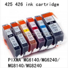 6 color PGI 425BK CLI 426BK C M Y GY compatible ink cartridge For canon PIXMA  MG6140 MG6240 MG8140 MG8240 printers with ink