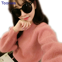 Women Autumn Pink Sweaters And Pullovers 2017 Jumpers Knitted Top Thicken Warm Lantern Sleeve Loose Casual