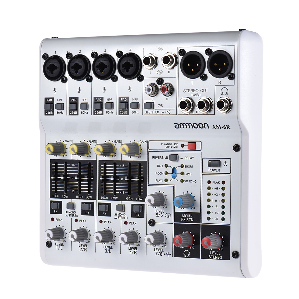 ammoon 6 8 channel sound card audio mixer digital mixing console built in 48v power support. Black Bedroom Furniture Sets. Home Design Ideas