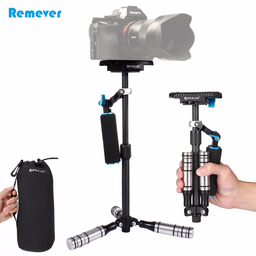 PULUZ Carbon Fiber Handheld Camera Stabilizer For Canon Nikon Sony DSLR Mini Tripod Steadicam for Gopro DV Camcorder Photography yelangu s40t professional carbon fiber handheld stabilizer steadicam for canon dslr camera dv camcorder sports camera