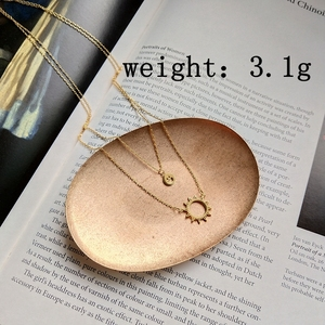 Image 3 - Sterling 925 silver smiley face sun pendant necklace gold 2018 fashion simple double layer necklace for women charms jewelry
