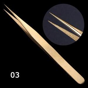 Image 5 - STZ 3 pièces droit + courbé pince à épiler ensemble pince pour cils cils Extension bigoudi stratification doré maquillage ongles accessoire G01 03