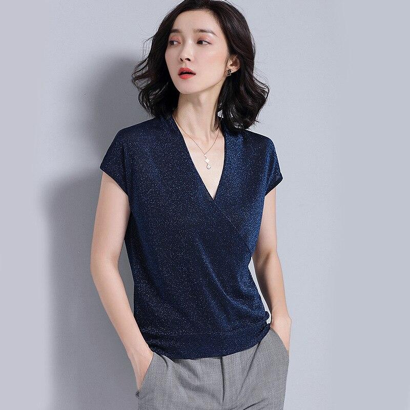 2018 été 2019 coréen basique T-shirt femmes décontracté dames Sexy col en v profond haut T-shirt lumineux en soie T-shirt pour les femmes vêtements